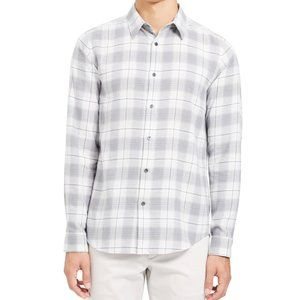 Theory Men's Irving White & Gray Flannel Shirt - S